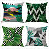 Tropical plant green leaf cushion cover bed car sofa linen square pillow case