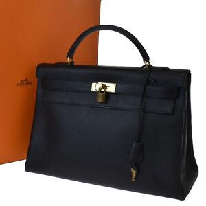 AUTHENTIC HERMES KELLY 40 HAND BAG FJORD LEATHER BLACK FRANCE VINTAGE 900LB135