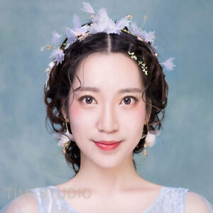 Handwork Silk Yarn butterfly Flower Bridal Headband Hairband Headpiece Jewelry
