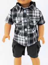 "Camping Hiking Outfit Plaid Shirt & Cargo Shorts for 18"" Boy Logan Doll Clothes"