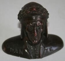 "4"" Antique Bronze Bust of Italy Poet Dante Alighieri"