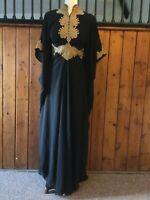 black Kaftan abaya lace gothic dress Arabian dress one size 8 10 12 14 16 18 20