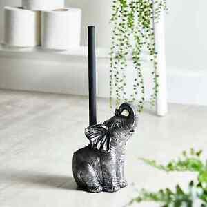 New Antique Silver Finish Ornate Elephant Toilet Brush Bathroom Decor M-21