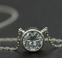 Antique 1.00 Ct Bezel Set Solitaire Round Diamond Pendant 14k White Gold Finish