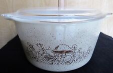 VINTAGE PYREX FOREST FANCIES MUSHROOMS CASSEROLE WITH LID TAB HANDLE BOWL