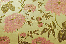 Beautiful floral curtain/soft furnishing fabric, golden/pink, remnant of 8.3m