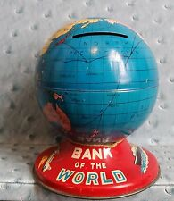 Vintage Bank of the World tin piggy bank globe with compass