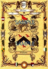 Family Name Surname Coat of Arms on Parchment Personalised Gift A4