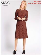 M&S Marks Spencer Ladies Round Neck Long Sleeves Rust Brown Floral Lace Dress 16