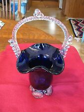 BEAUTIFUL COBALT BLOWN GLASS BASKET - CLEAR HANDLE AND BASE - UNKNOWN MAKER
