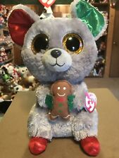 """Ty MAC -Grey Holiday Mouse w/Cookie 10"""" Beanie Boo Buddy! *Retired* RARE & VHTF!"""