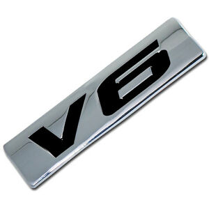 CHROME/BLACK METAL V6 ENGINE RACE MOTOR SWAP EMBLEM BADGE FOR TRUNK HOOD DOOR D