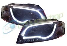 Per Audi A3 8P 03-08 Nero Tubo Luminoso Stile DRL Proiettore Fari Lampada