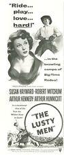 "1952 MOVIE ""The Lusty Men"" Susan Hayward Robert Mitchum Cowboys PRINT AD"