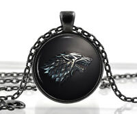 Game of Thrones Necklace Pendant - House of Stark Black Wolf Jewelry Gothic Gift