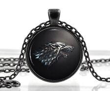Spiel Der Throne Halskette Mit Anhänger - Haus Von Stark Schwarz Wolf Schmuck