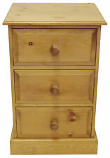 UK Hand Made Solid Pine Bedroom 3 Drawer Bedside Cabinet (Large)
