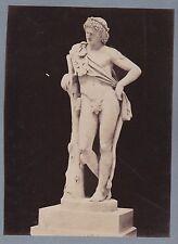 PHOTO ancienne 190713 - ITALIE - ROME statue romain nu appuyé à un tronc d'arbre