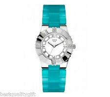 NEW GUESS SILVER TONE,BLUE RESIN,PLASTIC STRAP CRYSTALS WATCH-U95156L2