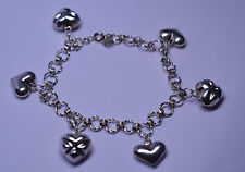 STERLING SILVER 8 INCH LINK BRACELET WITH 6 PUFFY 3-D HEART CHARMS