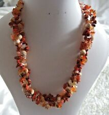 """Faceted Agate Beads and Mixed Stone Chip 18""""Orange & Brown Plaited Wire Necklace"""