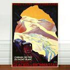 "Stunning French Vintage Travel Poster Art ~ CANVAS PRINT 8x12"" ~ Glacier Train"