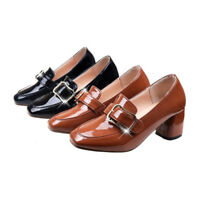 Retro Womens Mary Jane Block Mid Heels Ladies Buckle Pumps Casual Shoes Size 8