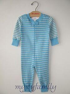 HANNA ANDERSSON Baby Organic Zip Sleeper Atmosphere Oat Stripe 60 6-9 mos NWT