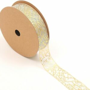 5 Yards Ribbon for Diy Packaging Decor Bronzing Jacquard Organza Gift Box Flower