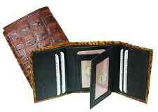 Brown Crocodile Embossed Credit Card ID Window Leather Men's Trifold Wallet New