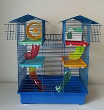 BLUE Syrian Hamster Cage with Many Accessories Mouse Gerbil Pet Rodents + Bottle