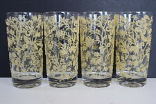Vintage Set of 4 Beige Queen Anne's Lace Textured Pattern Tall Drinking Glasses