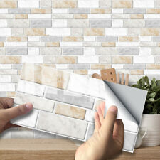 9pcs White Beige Marble Mosaic Adhesive Bathoom Kitchen Wall Tile Stair Sticker