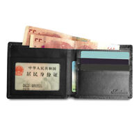 AU_ CW_ KF_ Men Faux Leather Slim Cash Bifold Wallet ID Card Slot Holder Purse P