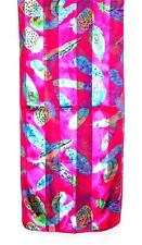 SCARF Fuchsia Pink Background Blue Green Yellow Purple Birds COLORFUL FEATHERS
