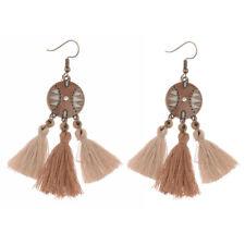 Long Alloy Earrings For Lady Dw-Eh-Hqe602 Bohemian Retro Style Beige Tassel Drop