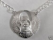 EGYPTIAN SCARAB SYMBOL SILVER  TONE NECKLACE 48cm