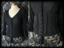 Goth Black Sheer Lace SIREN Fitted Corset Panel Blouse 10 12 Victorian Governess
