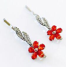 USA Bobby Pin using Swarovski Crystal Hair Clip Bridal Wedding Red Flower 02