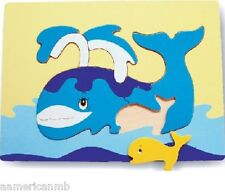 """WHALES 7 pc Wood Puzzle 11.5x8.5"""" Educational Toy Wooden Woodcraft Construction"""