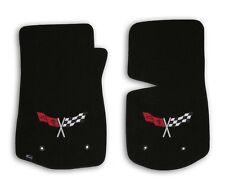 1968-1982 Corvette C3 - Black Classic Loop Carpet Front Floor Mats w Flags Logo