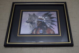 Native American Indian with Wolf Wall Decor Art Framed Picture