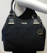 "Calvin Klein Monogram Black Suede Hobo Shoulder Bag Handbag Tote Purse ""NWT"""