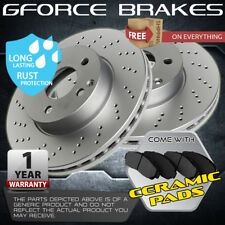 Front 2 Cross Drilled Rotors & 4 Ceramic Pads for ( 2001 - 2005 ) Toyota Echo