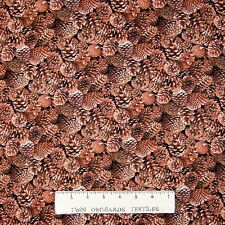 Country Christmas Fabric - Packed Brown Pine Cone - Elizabeth's Studio YARD