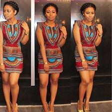 Women Summer Sleeveless Traditional African Print V-Neck Sheath Party dress M