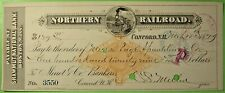 Bank Check Northern Railroad check with imprinted revenue stamp. 1879