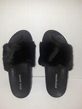 STEVE MADDEN Sandals Women Faux Fur Black Slip On Open Toe/Heel JSOFTEY Shoes 5M