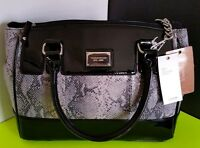 TIGNANELLO Pebble Grey Snake Black Patent Leather SATCHEL Shoulder BAG
