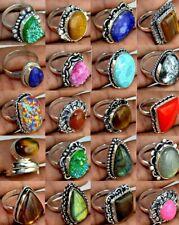 Jasper & Mix Gemstone 925 sterling silver plated rings Wholesale lot 10PCS BN148
